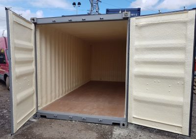 Photo of metal container insulated by Isotech Sprayfoam