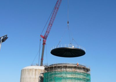 New roof being installed at waste water tank site insulated by Isotech Sprayfoam
