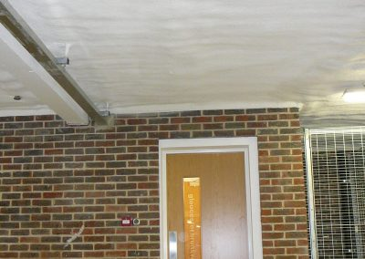 Photo showing soffit insulation installed by Isotech Sprayfoam