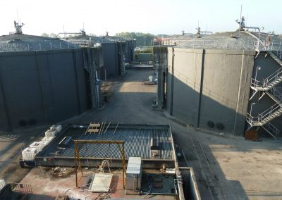 Site view of spray foam insulation applied to industrial digesters by Isotech in Warrington