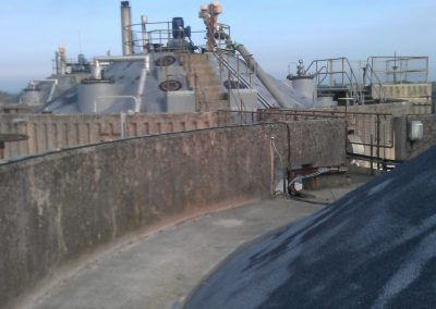 Roof view of spray foam insulation applied to industrial digesters by Isotech in Warrington