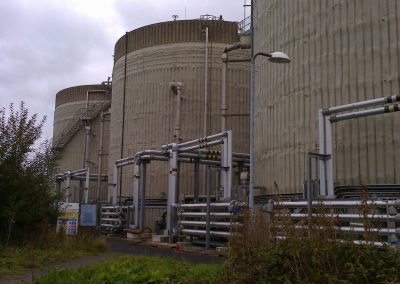 View of Spray foam insulation applied to industrial digesters by Isotech in Warrington