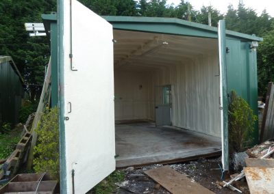 Photo showing sprayed foam insulation applied by Isotech to metal container