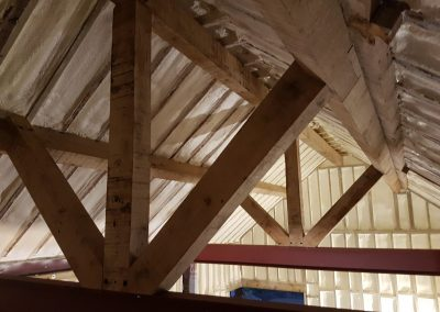 Photo of foam insulation installed by Isotech to barn conversion