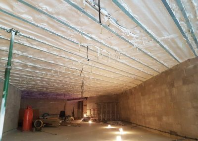 Photo of sprayed foam soffit insulation by Isotech