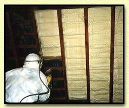 Small photo of sprayfoam insulation applied to underside of tiled roof by Isotech Sprayfoam