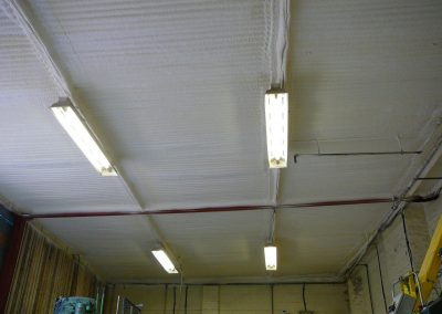 Photo showing workshop roofing insulated by Isotech Sprayfoam